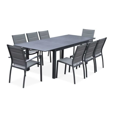CHICAGO 8-10 Seater Outdoor Dining Set Aluminium Anthracite Grey/Grey