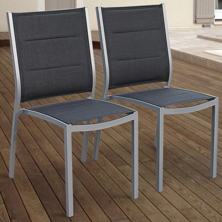 Set of 2 Aluminium Armchairs GreyGrey