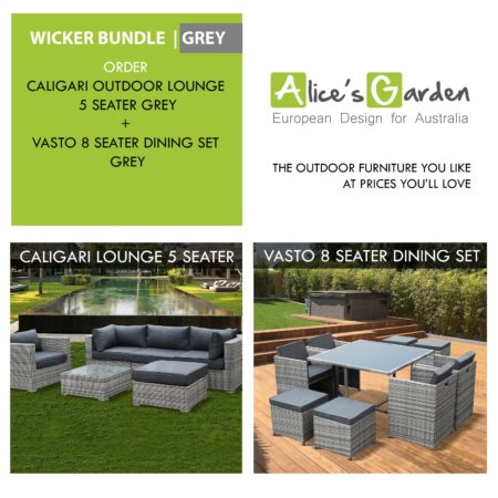 Dining Set Vasto 8 Mix Grey Wicker + Outdoor Lounge CALIGARI Mix Grey Wicker