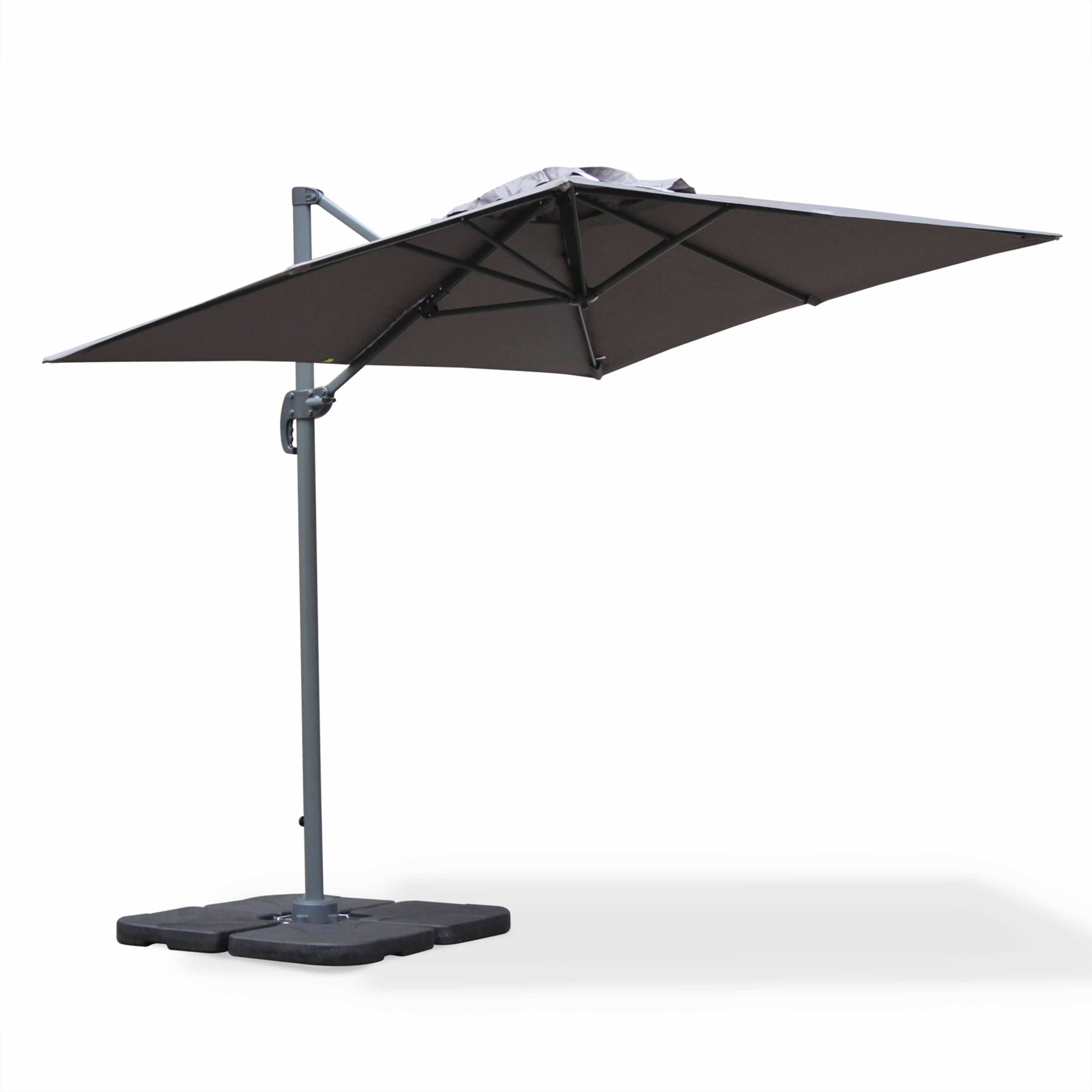 BISCAROSSE 2x3m Aluminium Cantilever Outdoor Umbrella Grey with 360 Rotation Pedal