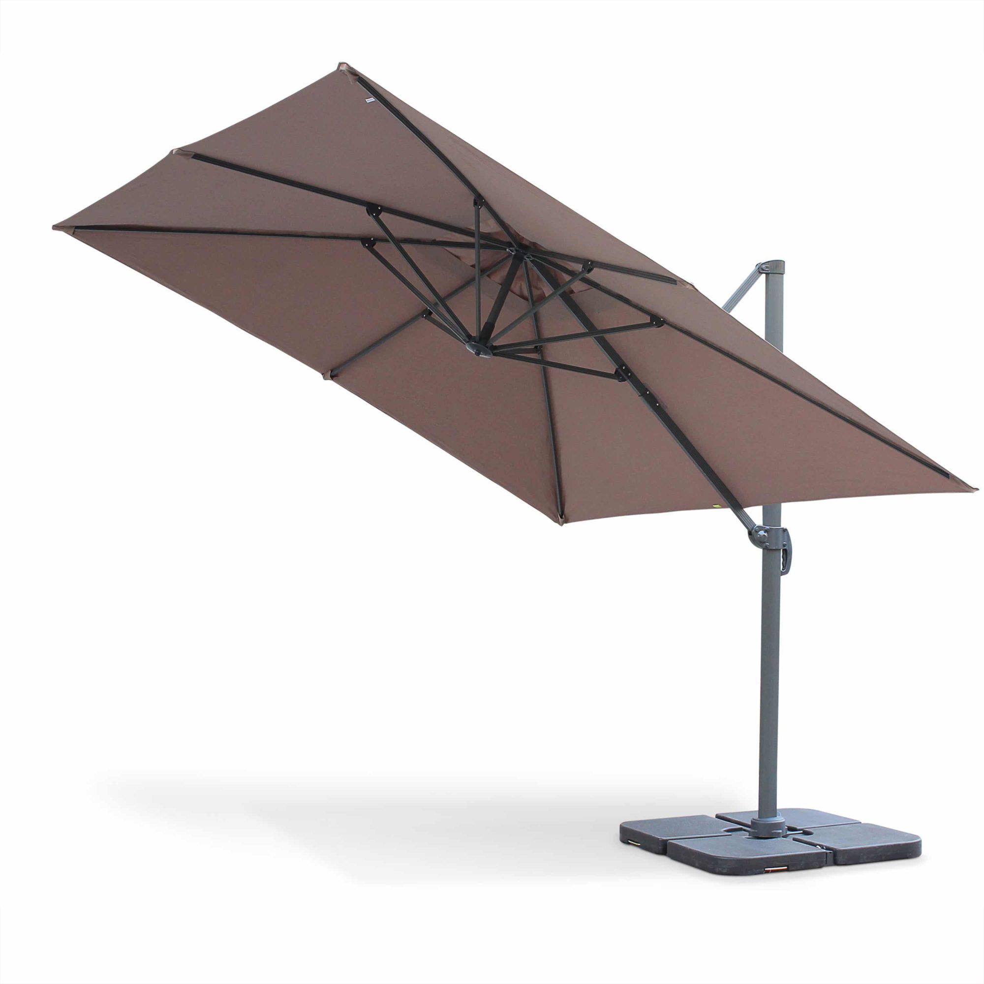 Cantilever Outdoor Umbrella Parasol 3x3m in Aluminium Taupe Brown