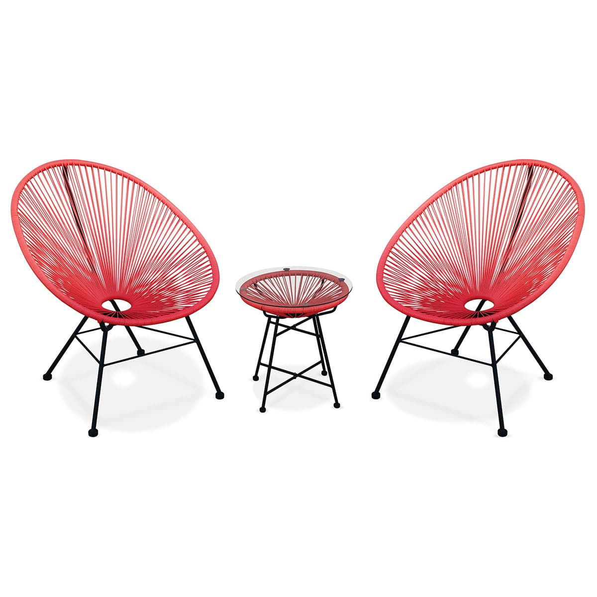 ACAPULCO set of 2 egg chairs + coffee table red