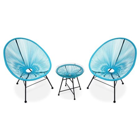 ACAPULCO set of 2 egg chairs + coffee table turquoise