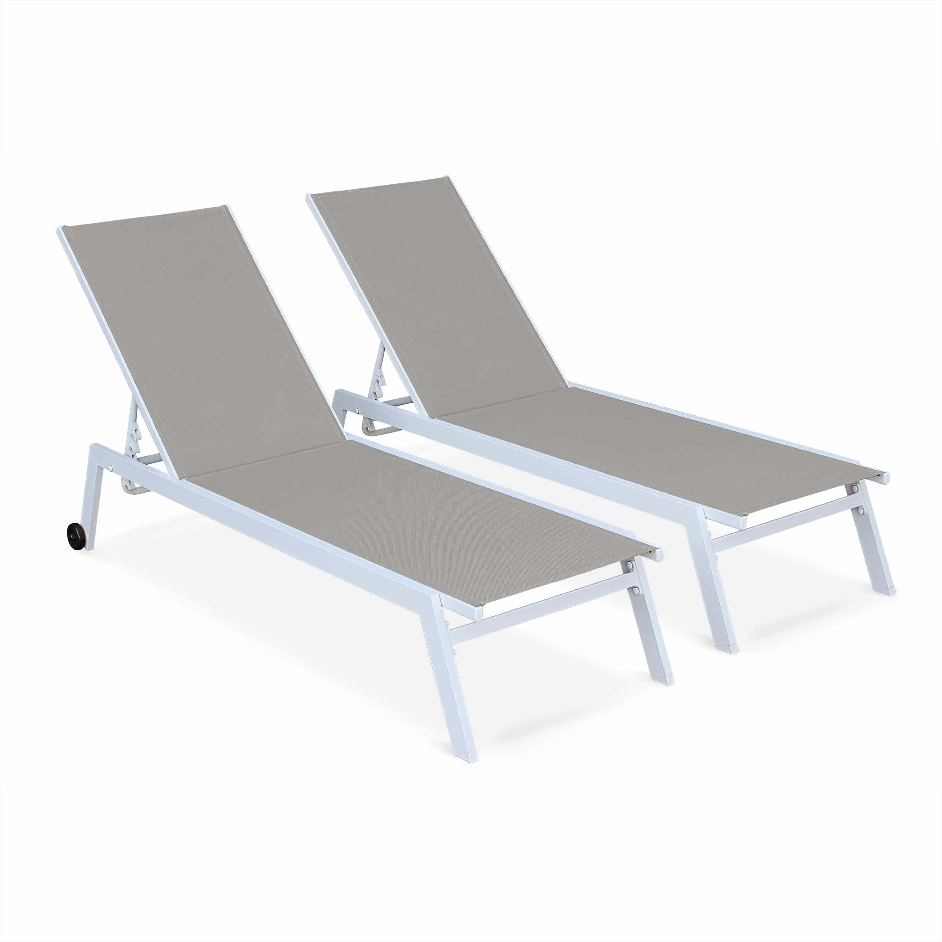 Set of 2x sun loungers aluminium stackable ELSA White Frame Brown Fabric TXSUNKD