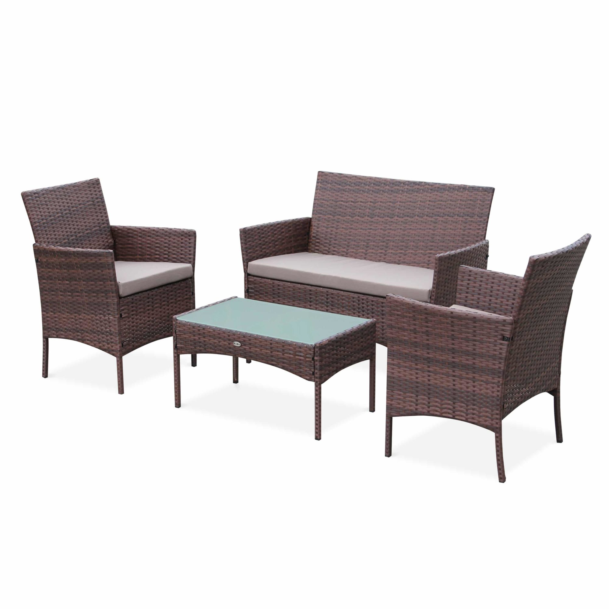 Moltes Outdoor Lounge 4 Seater Brown Brown
