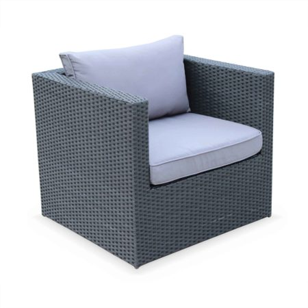 BENITO 5 Seater Outdoor Lounge Set, Black Wicker, Black Cushions, Aluminium Frame