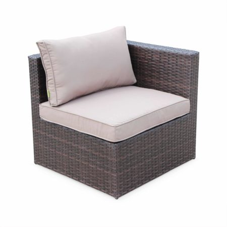 Corner Sofa Brown Wicker/ Brown Cushion Aluminium 60x60cm