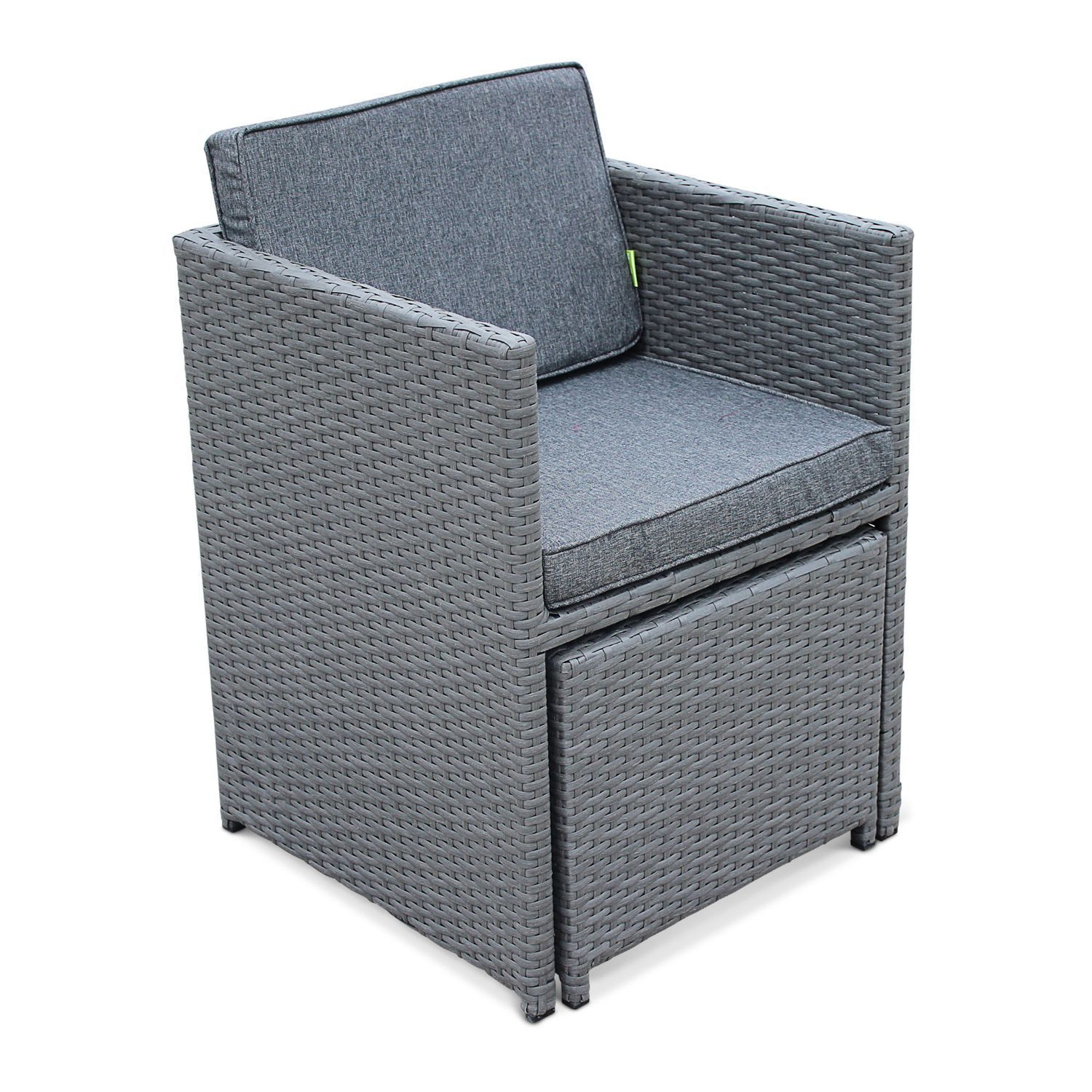 Outdoor Dining Set 10 seater VASTO 10 Grey Wicker/Grey Cushions