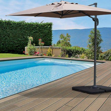 Outdoor Cantilever Umbrella Aluminium 2x3m Taupe (Brown)