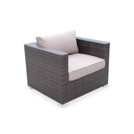 Armchair Brown Wicker/Brown Cushions Aluminium Frame