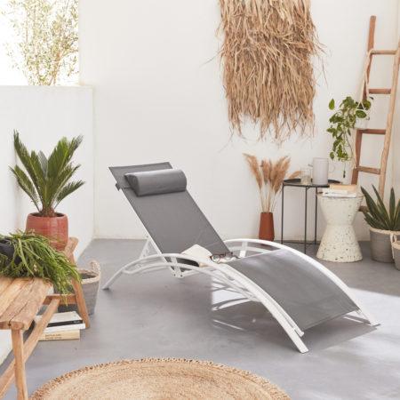 LOUISA set of 2x aluminium sun loungers