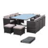 VASTO 10 seater outdoor dining set wicker Brown bundle with cover