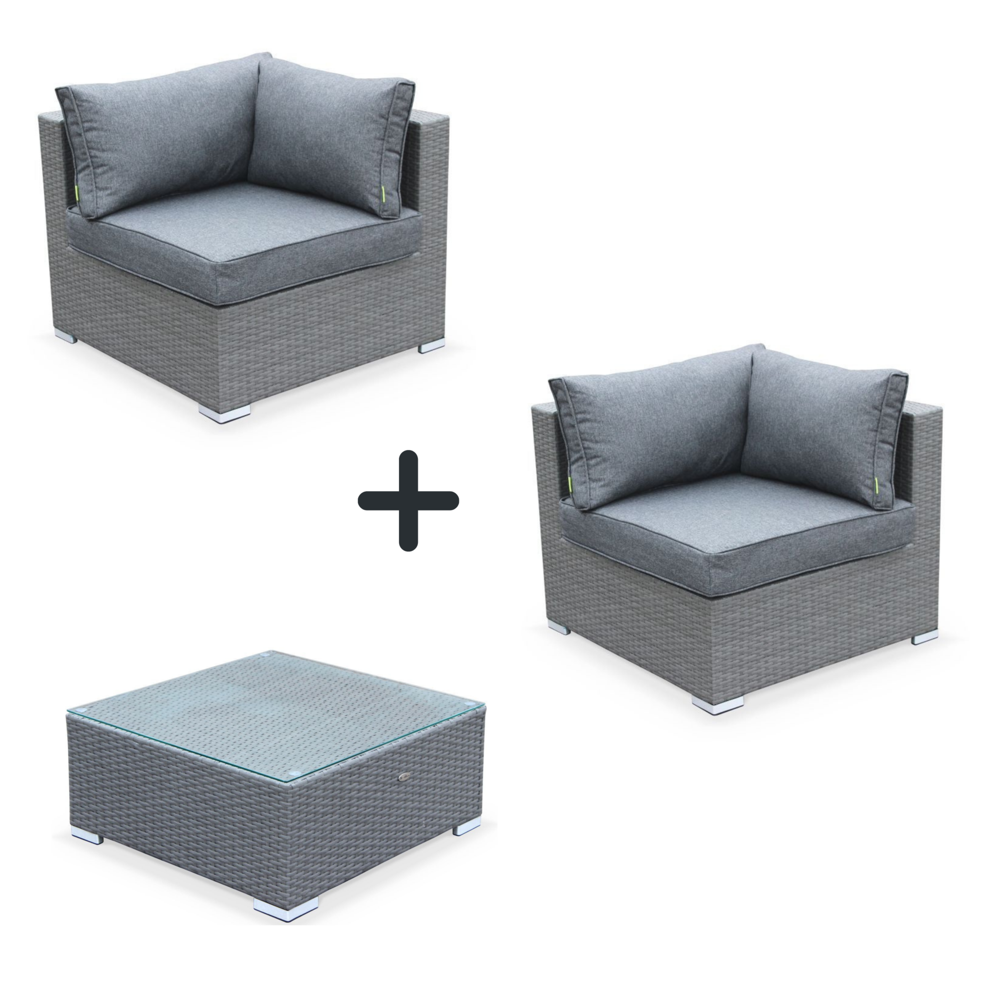 Outdoor lounge 2 seats with table grey/grey