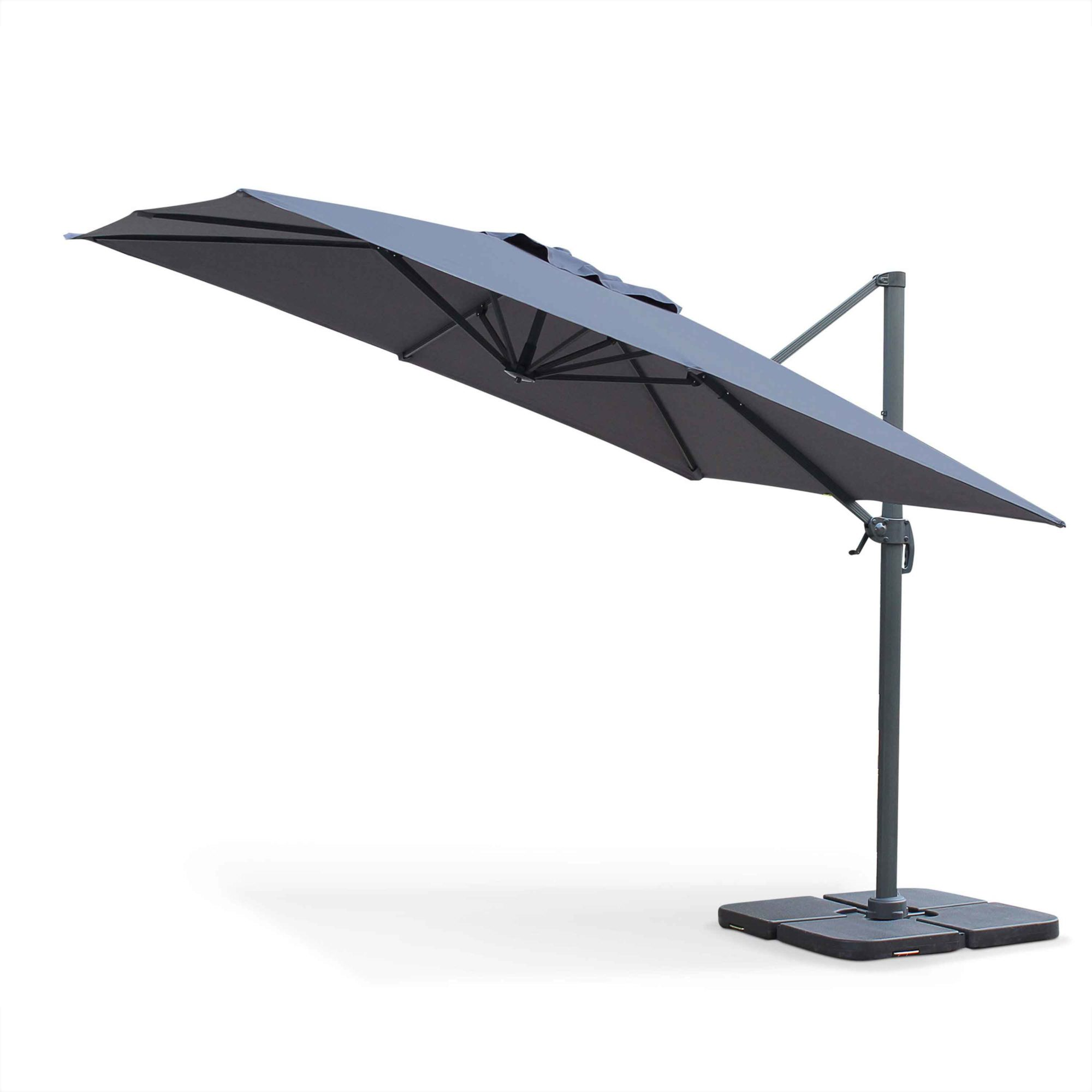 Cantilever outdoor umbrella 3x3m aluminium grey