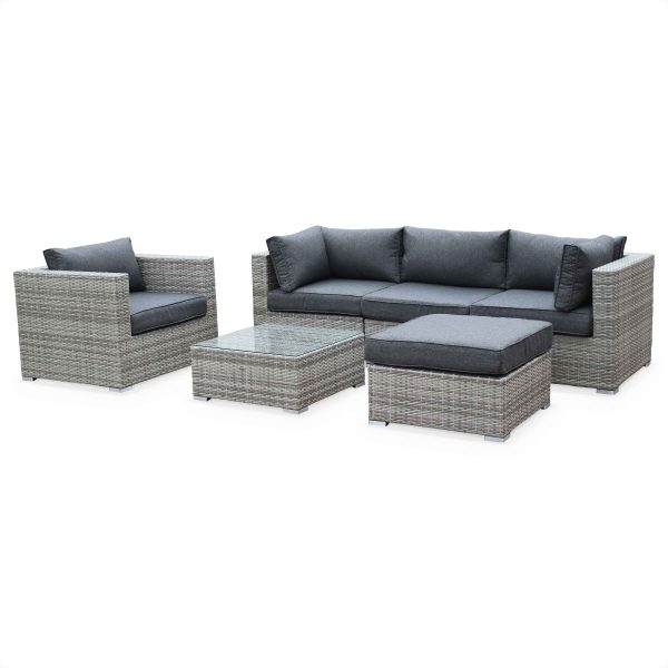Outdoor Lounge 5 Seater PE Rattan Woven Grey with armchair