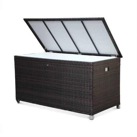 CASSAPANCA Outdoor Chest Aluminium Frame Brown Wicker Open Alice's Garden